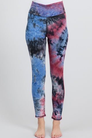 Tie Dye Knit Leggings - Berry and Black