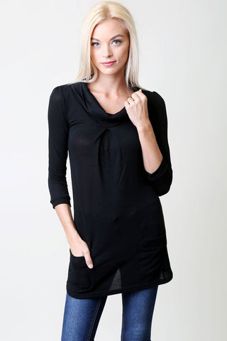 Tunic Top with pockets - Black