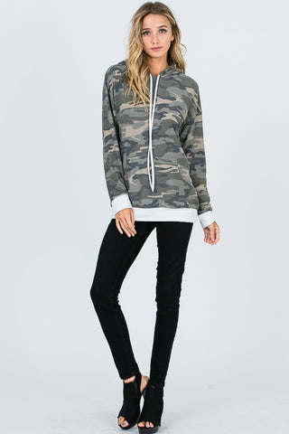 Camo Hoodie with White Trim