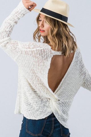 Twist Back Sweater - White