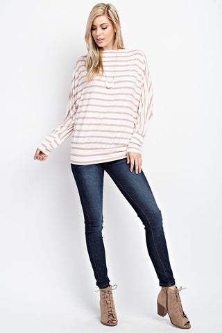 Striped Dolman Top - Mauve