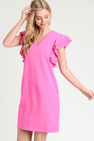 Ruffle Sleeve Shift Dress - Fuchsia