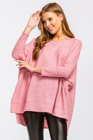 Waning Winter High Low Tunic Top - Pink
