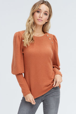 Puff Sleeve Pullover Sweater - Rust