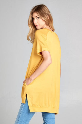 Crew Neck High Low Top - Mustard