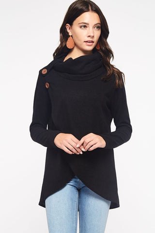 Criss Cross Cowl Neck Top - Black
