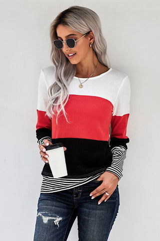 Color Block Striped Top - Tomato