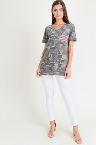 Camo V-Neck Flag Top