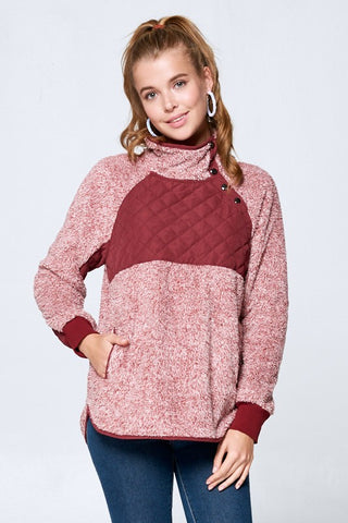 Fleece Pullover with Snaps - Burgundy