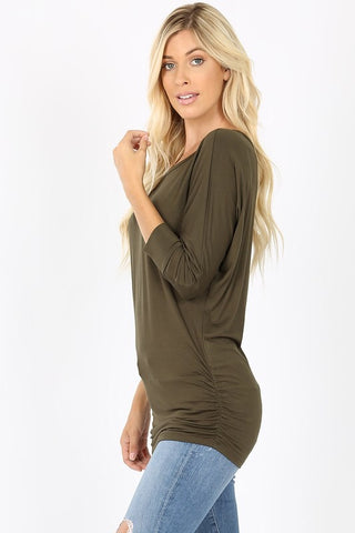Ruched Dolman Sleeve Top - Eggplant