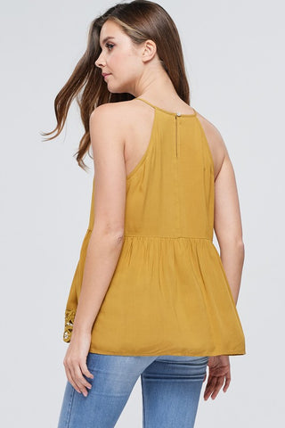 Lace Halter Top - Mustard
