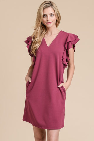Ruffle Sleeve Shift Dress - Cherry