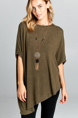 Asymmetrical Poncho Style Top - Olive