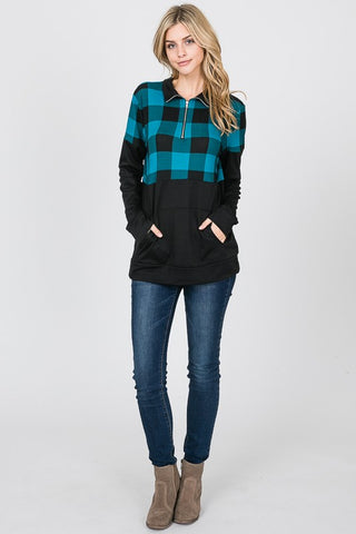 Pullover Zip Up Buffalo Plaid Top - Teal
