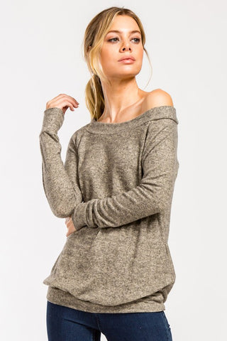 Casual Fall Off Shoulder Top - Taupe