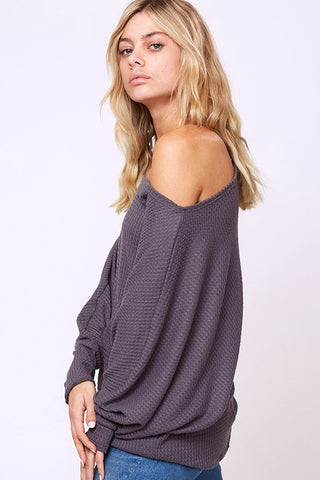 Batwing Off Shoulder Top - Heather Gray