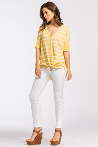 Spring is Calling Striped Top - Yellow