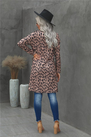 Leopard  Print Long Length  Cardigan - Brown
