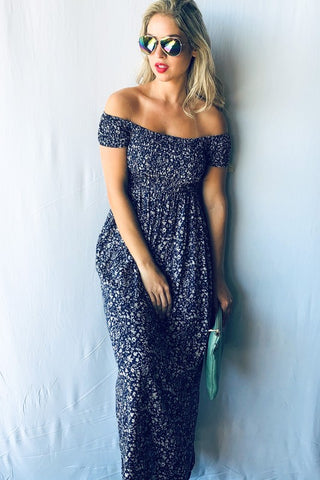 Picnic in the Park Off Shoulder Maxi Dress - Navy