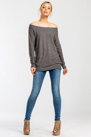 Off Shoulder Soft Knit Top - Charcoal