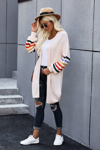 Long Balloon Rainbow Sleeve Cardigan - Pink