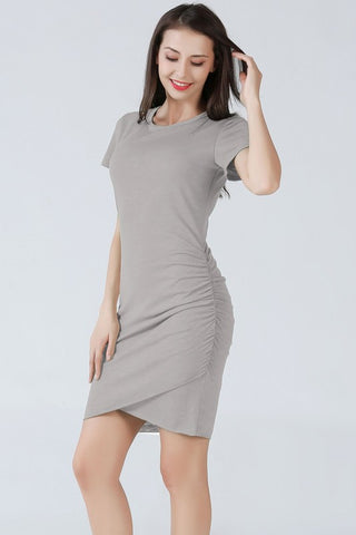 Ruched Short Sleeve Dress - Gray