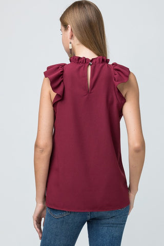 Mock Neck Ruffle Top - Burgundy