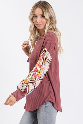 Boho Bishop Sleeve Top - Mauve