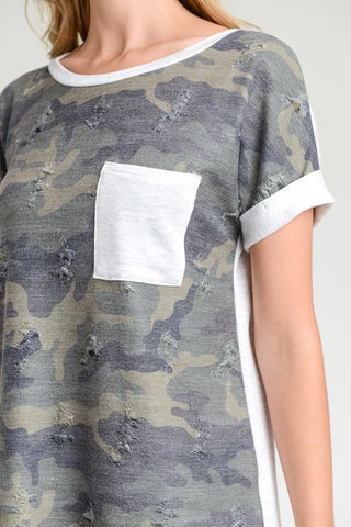 Distressed Contrast a Camo Top