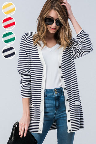 Striped Button Down Cardigan - Navy