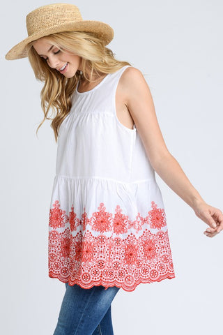 Sleeveless Baby Doll Top - White and Red