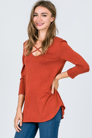 Criss Cross 3/4 Sleeve Top - Rust