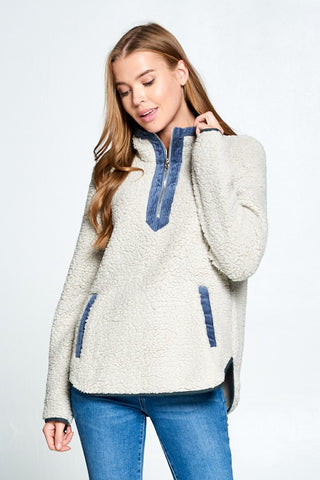 Sherpa Pullover with Zipper - Gray and Blue
