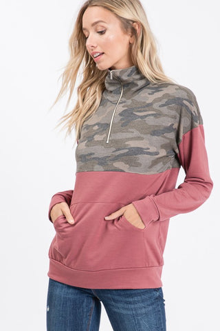 Zip Up Camo Top - Marsala