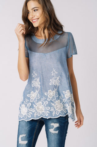 Embroidered Floral Top - Blue