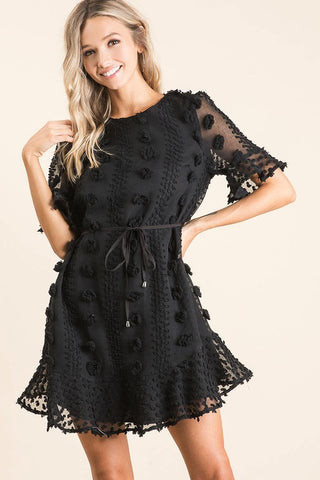Half Sleeve Tie Dress - Black