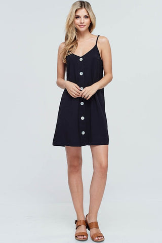 Beach Ready Button Down Dress with Straps - Black