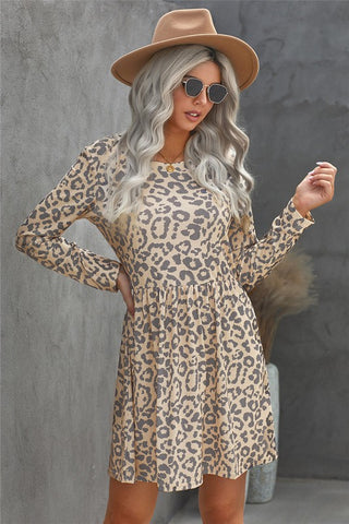 Pleated Leopard Print Dress