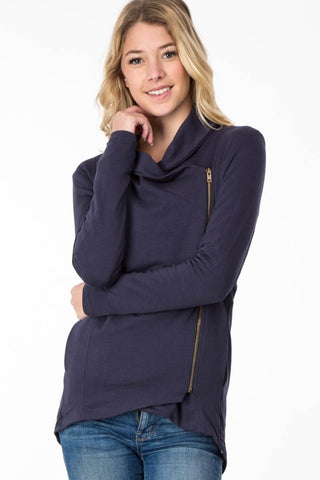 Asymmetrical Zip Up Fleece Jacket - Navy