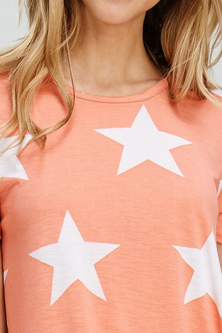 Star Print Twist Top - Peach