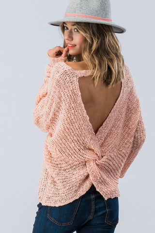 Twist Back Sweater - Peach