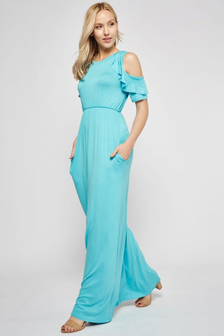 Cold Shoulder Ruffle Maxi Dress - Mint