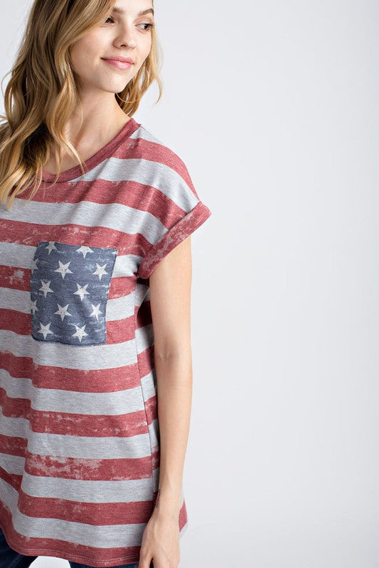 Vintage American Flag Roll Sleeve Top | Blue Chic Boutique