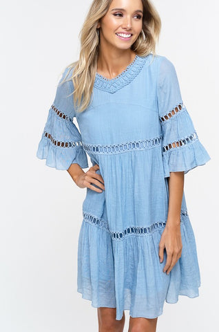 Babydoll Boho Dress - Misty Blue