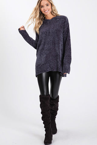 Soft Chenille Sweater - Charcoal