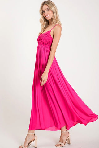 Elegant Lace Open Back Dress - Fuchsia