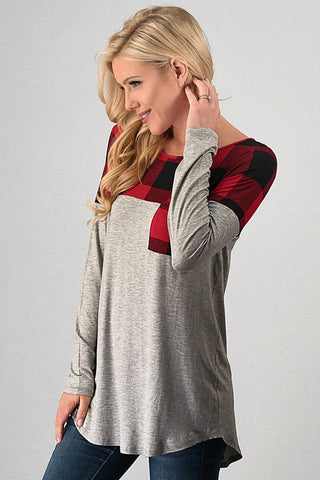 Cozy Winter Weekend Buffalo Plaid Top - Red