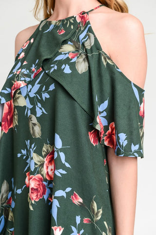 Cold Shoulder Dress - Hunter Green