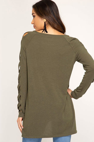 Autumn Getaway Strappy Sleeve Top - Olive