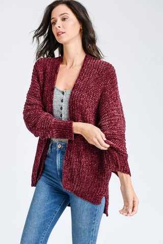 High Low Chenille Cardigan - Wine